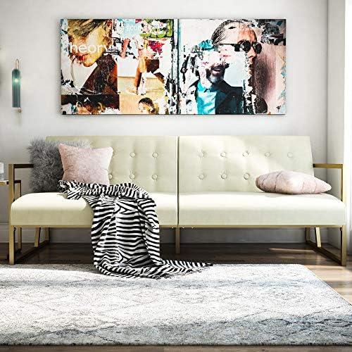 CosmoLiving by Cosmopolitan Lexington Modern, Gold Frame Ivory Velvet Upholstery Futon, Ivory