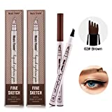 Eyebrow Tattoo Pen -Afaston microblade pen Microblading Eyebrow Pencil with a Micro-Fork Tip Applicator Creates Natural Looking Brows Effortlessly and Stays on All Day -2 pcs(Brown)