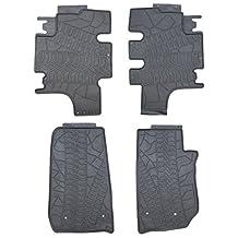Black Rubber Floor Mats for 2007-2016 Jeep Wrangler JK Unlimited 4 Door