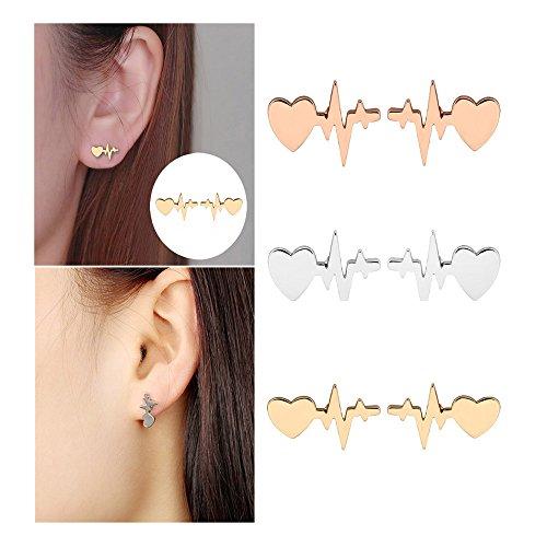 Comidox Three Colors Romantic Medical ECG Heartbeat Ear Studs, Creative Lightning Fashion Earrings Love Heart Earrings for Women 3pairs