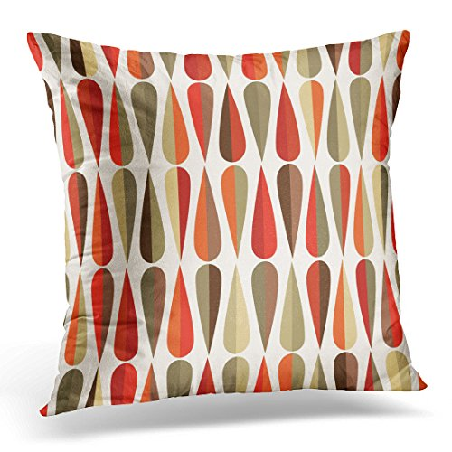 UPOOS Throw Pillow Cover Mid Century Modern Style Retro with Drop Shapes in Various Color Tones Abstract for All and Purposes Decorative Pillow Case Home Decor Square Pillowcase 513HdrKFRzL