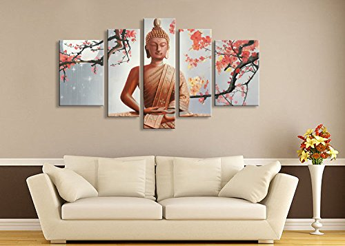 Winpeak Pure Hand Painted Framed Canvas Art Buddha Paintings on Canvas 5 paenl Wall Decor For Living Room Stretched Ready to Hang (58''W x 32''H (14''x20'' x2, 10''x28'' x2, 10''x32'' x1)) by Winpeak Art
