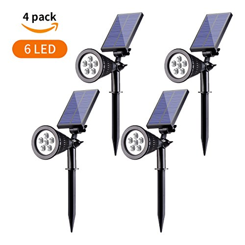 Solar Spotlight,Sunix 2-in-1 Waterproof 6 LED Solar Landscape Light Adjustable Wall Light, Dark Sensing Auto On/Off Outdoor Security Lighting for Yard Garden Driveway Pathway Pool (4 Pack)