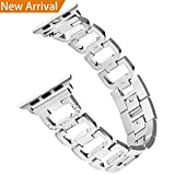 Hotodeal Bling Bands Compatible Apple Watch Band 38mm&42mm Women Stainless Steel Metal Replacement Band Compatible Iwatch Wristband Sport Strap Nike+,Series 3/2/1,Sport Edition