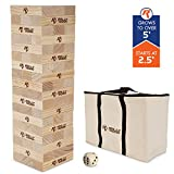Rally & Roar Toppling Tower - Giant Tumbling Timbers Game – 2.5 feet Tall, Build to Over 5 feet Premium Color or Classic Wood Versions Available - for Adults, Kids, Family, Stacking Blocks Set w/Bag