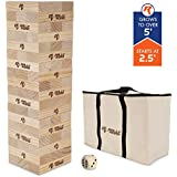 Rally and Roar Toppling Tower Giant Toppling Tower Game 2.5 feet Tall (Build to Over 5 feet)– Classic Wood Version Available - for Adults, Kids, Family – Toppling Tower Set w/Canvas Bag