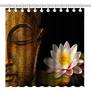 Wknoon 72 X Inch Shower CurtainVintage Golden Buddha And Pink Lotus Flowers Design