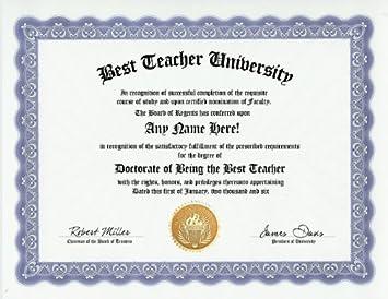 com best teacher teaching award degree custom gag diploma  best teacher teaching award degree custom gag diploma doctorate certificate funny customized joke gift