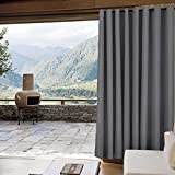 """Outdoor Curtain Antique Bronze Grommet Eyelet Grey 100"""" W x 102"""" L For Front Porch, Pergola, Cabana, Covered Patio, Gazebo, Dock, and Beach Home (1 Panel)."""