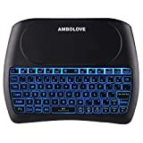 Mini Wireless Keyboard, USB Mini Keyboard with Large Touchpad Mouse, 2.4GHZ Li-ion Battery Remote Keyboard Support Smart TV, Xbox, PC, PS4, Android TV Box (T2-Blue Backlit)