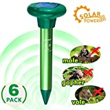 LOMEREY 6 Pack Solar Sonic Mole Repellent Gopher Repeller Ultrasonic Mole Spike Vole Chaser Pest Deterrent Rodent Repellant Ultrasonic Rid Mole from Your Lawn Garden Yard