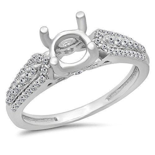 (Dazzlingrock Collection 0.40 Carat (ctw) 14K White Diamond Ladies Split Shank Semi Mount Engagement Ring, White Gold, Size 7 )
