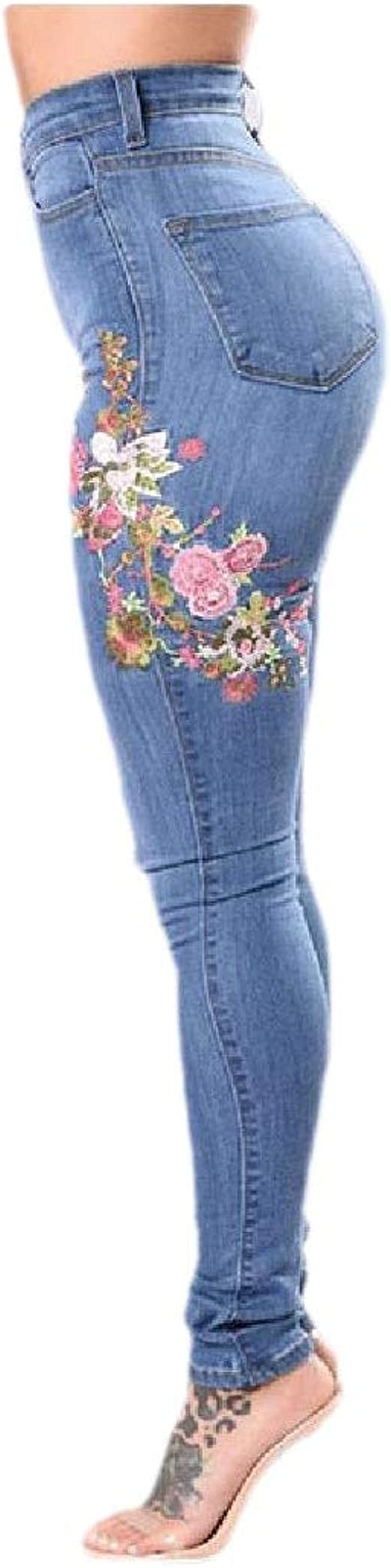 VITryst Women Fitness Washed Ripped Hole Stretch Over Waist Embroidered Jeans
