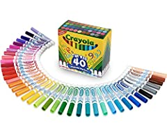 Upgrade your art or school supplies with a new Crayola Marker Set! These Ultra Clean Washable Markers come in 40 vibrant colors including Sea Foam Green, Tropical Violet, Coral Reef, and more! Artists of all ages will love the conical Broad L...