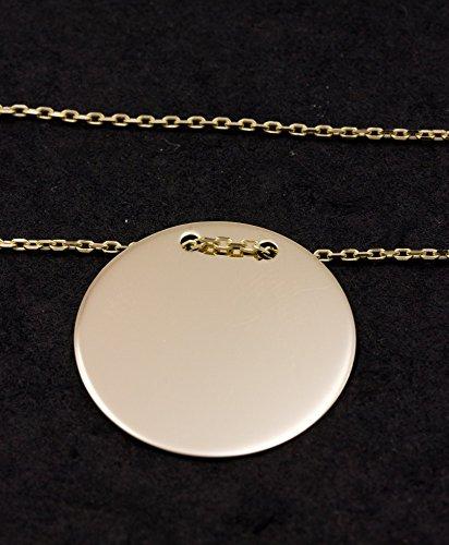 ASS en or jaune 585Pendentif Gravure plaque 17mm ronde avec avec chaîne en kit