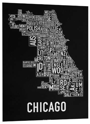 Print Screen Black White - Ork Posters Chicago Neighborhoods Map Art Screen Print, Black & White, 18