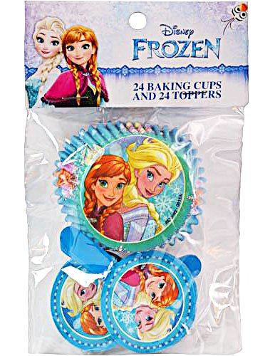 Disney Frozen Cupcake Baking Cups and Toppers (Set of 24), Multi-Colored, -