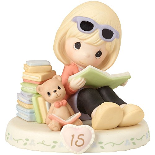 Precious Moments 4 Piece (Precious Moments 162014 Blonde Girl Growing In Grace, Age 15 Birthday Bisque Porcelain Figurine)