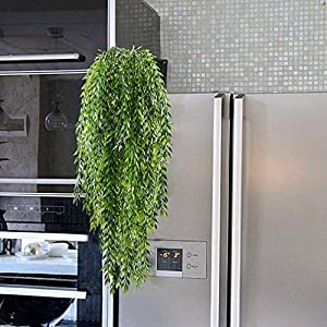HO2NLE 2pcs Fake Hanging Plants Artificial Willow Leaves Faux Foliage Plastic Greenery Garland Wall Porch Patio Arch Balcony Basket Garden Party Wedding Decorations 5