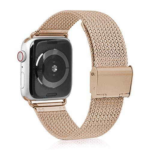VATI Compatible with Apple Watch Band 38mm 40mm, Stainless Steel Mesh Loop Sport Wristband with Adjustable Magnetic Closure Replacement Band Compatible with iWatch Series 4/3/ 2/1, Rose Gold