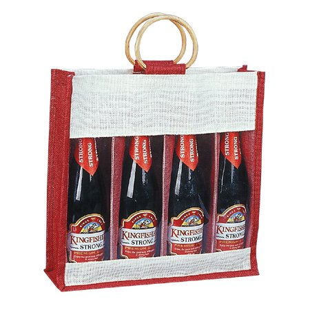 Pack of 25-Maroon Color Jute Burlap 4 Bottle Wine Carry Bag with front window and with cane handles size 14''W x 14''H x 4''Gusset - Cyber Monday Week Sake