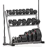XMark POWERHOUSE II Package Loaded Dumbbell and Plate Weight Rack with Bar Storage, Lumberjack Olympic Bar, Olympic EZ Curl Bar, 350 lb. Set of Hex Dumbbells and 365 lbs. of Texas Star Olympic Plates