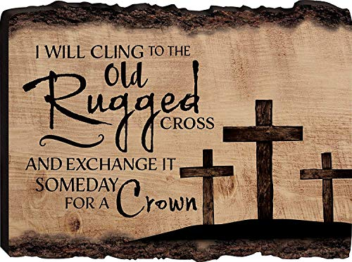I Will Cling to The Old Rugged Cross Three Crosses Decorative Sign Home Wooden Sign Plaque Home Craft Sign for Women Men Housewarming Gift