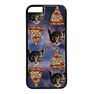 """Galaxy Space Pizza And Cat Pattern Theme Case for iPhone 6 Plus (5.5"""") PC Material BlackKimberly Kurzendoerfer"""
