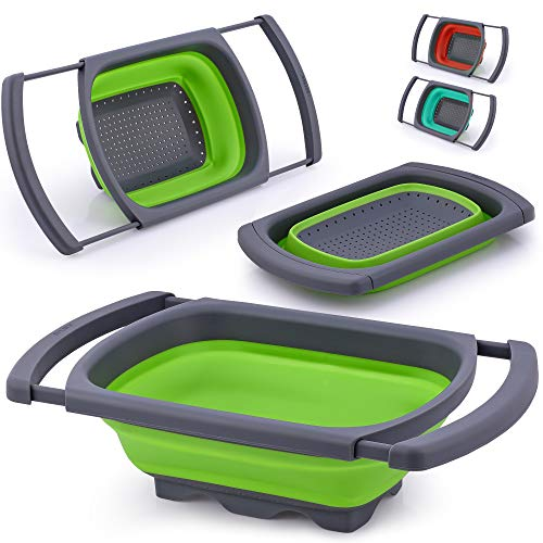 Zulay Collapsible Colander - Over The Sink Colander Strainer With Extendable Handles - Foldable Strainer Food Colanders Collapsible Silicone For Pasta, Vegetables, and Fruits (Green)