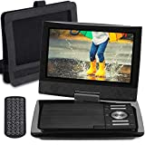 SUNPIN 11' Portable DVD Player with 9.5 inch HD Swivel Screen, Dual Earphone Jack, Supports SD Card/USB/CD/DVD and Multiple Disc Formats, Headrest Mount Holder, Car Charger, Power Adaptor (Black)