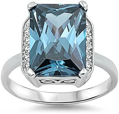 Sterling Silver Large Princess Cut Light Blue Cubic Zirconia & Clear CZ Ring
