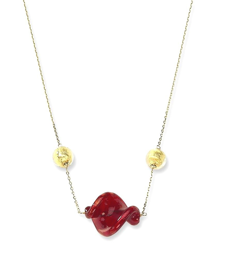 ICE CARATS 14k Yellow Gold Red Murano Glass Bead Chain Necklace Station Fine Jewelry Gift Set For Women Heart by ICE CARATS
