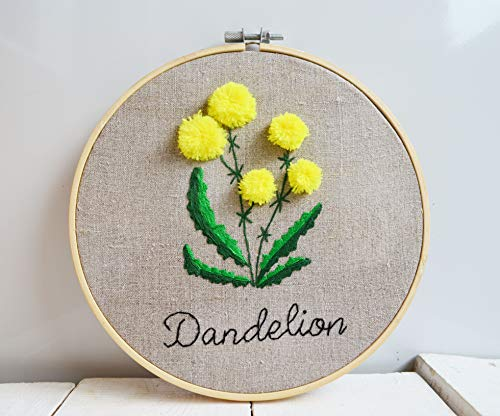 Embroidery Hoop Art Hand - Yellow flowers dandelion Embroidery hoop art Floral hand embroidred Botanical gift framed Houseplant decor Wildflower Wall Hanging