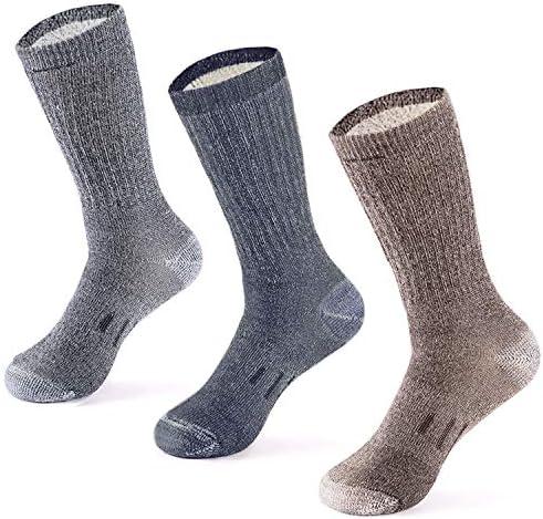 MERIWOOL Chaussettes de randonnée en laine mérinos pour homme et femme – 3 paires de chaussettes mi poids rembourré – Chaud n Respirant