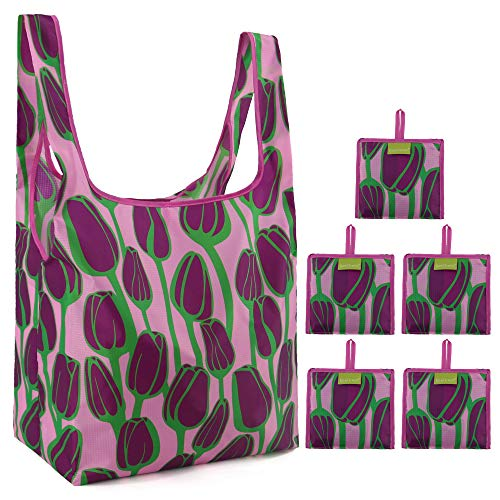 Grocery Shopping Bags Foldable With Attached Pouch 50 LBS Cute Reusable Grocery Bags 5 Pack Bulk Polyester Sturdy Machine Washable Lightweight (Purple Tulip)