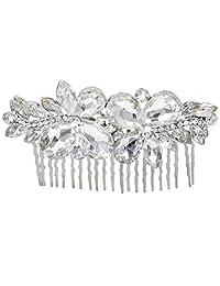 Ever Faith Bridal Silver-Tone Teardrop Flower Leaf Clear Austrian Crystal Hair Comb N01720-1
