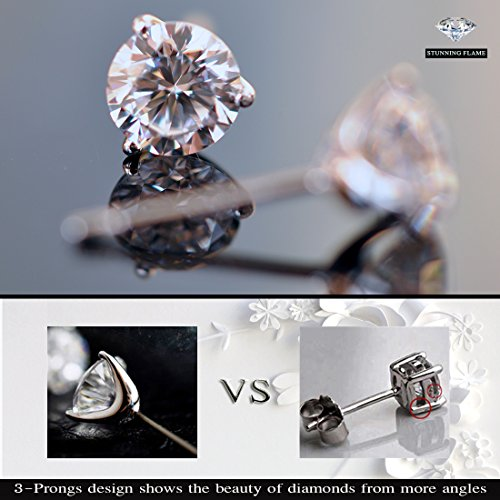 ''STUNNING FLAME'' 18K Gold Plated Silver Brilliant Cut Simulated Diamond CZ Stud Earrings (white-gold-plated-sterling-silver, 1.5) by Chic Code (Image #3)