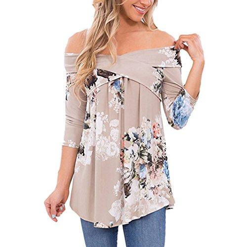 Rangeyes Donna Jumper Pullover Blusa Casual Stampa Fiore T-Shirt Tops Scollo a Barca Manica 3/4 Elegante Sweatshirt Maglietta Manica Tunica Camicia Grigio