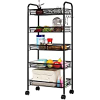 LANGRIA 5-Tier Basket Stand Kitchen Bathroom Trolley Full-Metal Rolling Storage Cart with Lockable Wheels 5 Side Hooks and Shelves Utility Mesh Wire 66 lbs. Weight Capacity (Black)
