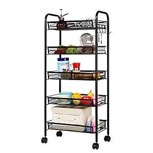 Langria 5 tier basket stand kitchen bathroom - Bathroom storage cart with wheels ...
