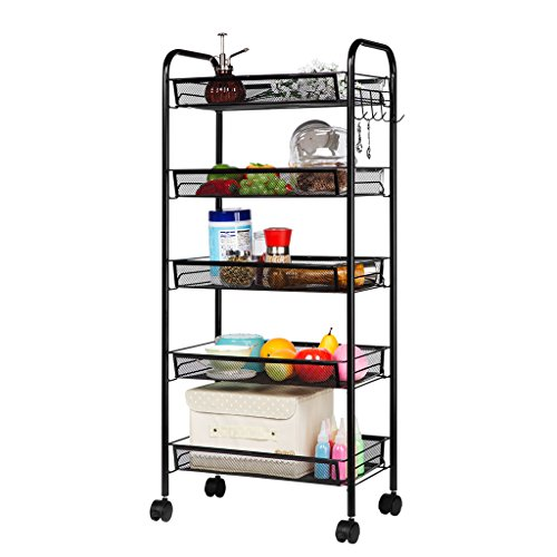 LANGRIA 5-Tier Basket Stand Kitchen Bathroom Trolley Full-Metal Rolling Storage Cart with Lockable Wheels 5 Side Hooks and Shelves Utility Mesh Wire 66 lbs. Weight Capacity (Black) Roll Out Pantry