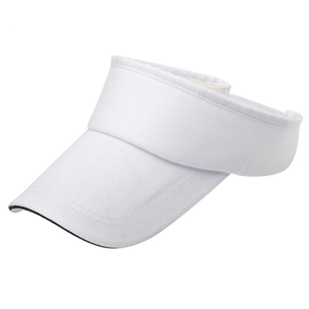 Adult Athletic Mesh Visor Men Women Sport Sun Visor Adjustable Cap (White)