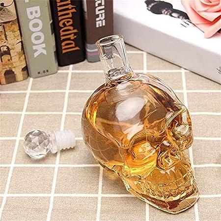 Decantador de vino de cristal hecho a mano, Skull Glass Wine Decanter and Glasses Set Whisky Antter, Crystal Skull Bottle, Dispensador de vidrio También para Brandy Tequila Bourbon Scotch Scotch Rum,