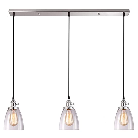 3 Lights Pendant Light Glass Lampshade Chandelier Ceiling Lamp Light Fixture Restaurant Hanging Lamps Flush Mount LED Office Living Room Bedroom Dining Room ...