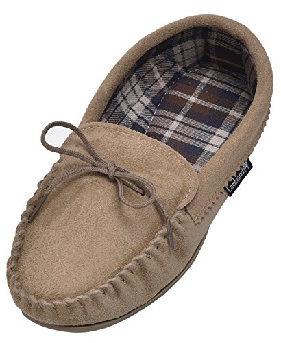 Lambland Ladies British Handmade Moccasin Slippers with Cotton Lining in Beige / Size UK4