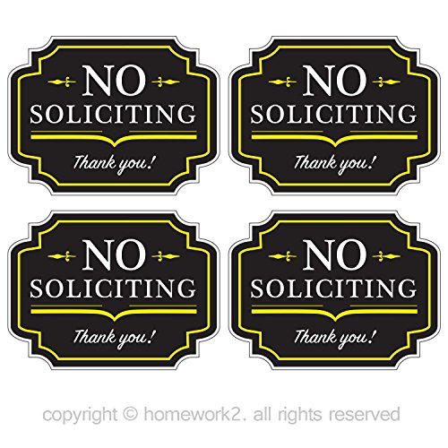 (No Soliciting Sign Stickers for Home and Business, Vinyl Decals, UV Protected & Waterproof, 4 X 3 inch - 4)