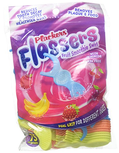 (pack of 2) Plackers Kids Flossers with Fluoride Fruit Smoothie Swirl Flavor 30 Flossers/Each (Total 60)