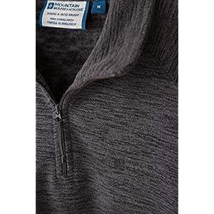 Mountain Warehouse Snowdon- Felpa in Pile Uomo – Calda, Traspirante, Asciugatura Rapida, Collo con Cerniera – Ideale per Viaggiare e per l'utilizzo Giornaliero Carbone X-Small