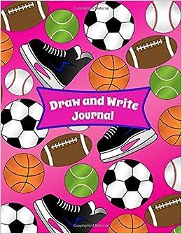 Draw and Write Journal: Pink hockey skate baseball basketball