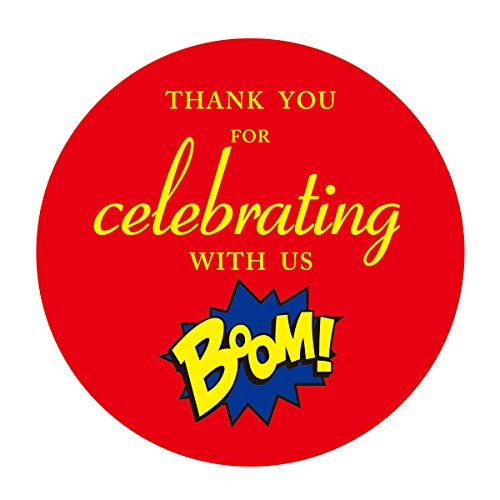 MAGJUCHE Superhero Thank You for Celebrating with US Stickers, Baby Shower or Kids Birthday Party Favors Sticker Labels, 2 Inch, 40-Pack ()
